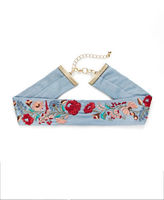 Expression Embroidered Floral Denim Choker