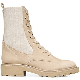 Sam Edelman Lydell Lug-Sole Suede & Knit Combat Boots