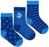 Jo-Jo JoJo Maman Bebe 3 Pack Boat Socks (Baby) - Navy-1-2