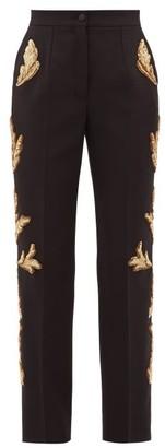 Dolce & Gabbana Sequinned Wool-blend Straight-leg Suit Trousers - Black Multi