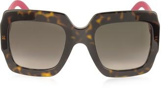 Gucci GG0053S Optyl Square Women's Sunglasses w/Glitter Temples