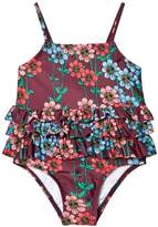 Mini Rodini Burgundy Daisy Frill Swimsuit