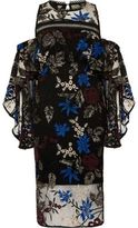 River Island Womens Black embroidered frill layer midi dress