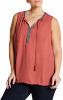 Daniel Rainn Embroidered Trim Sleeveless Blouse (Plus Size)