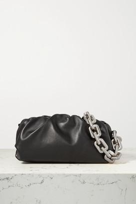 Bottega Veneta The Pouch Chain-embellished Gathered Leather Clutch - Black