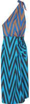 Diane von Furstenberg One-shoulder Printed Silk-twill Midi Dress - Blue