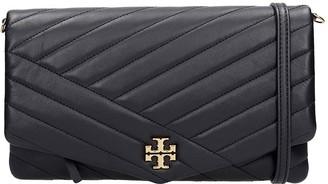 Tory Burch Kira Chevron Shoulder Bag In Black Leather