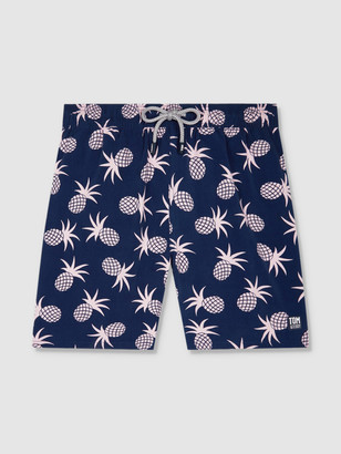 Tom & Teddy Mens Shell Pink Pineapple Swim Trunks