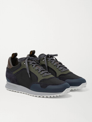 Dunhill Radial Runner Leather And Suede-trimmed Mesh Sneakers - Blue
