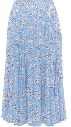 Markus Lupfer Hailey Pleated Floral-print Crepe De Chine Midi Skirt