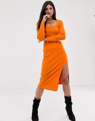 Asos Design DESIGN Long sleeve super soft square neck midi dress-Orange