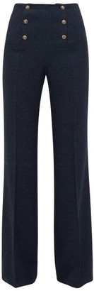 Giuliva Heritage Collection Palazzo Linen-blend Boucle Sailors Trousers - Womens - Navy