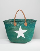 Hat Attack Painted Star Straw Tote Bag