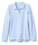Classic Girls Long Sleeve Fem Fit Mesh Polo-Blue