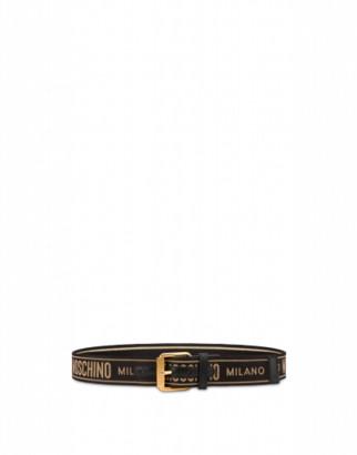 Moschino Jacquard Logo Belt Man Black Size 46 It - (30 Us)