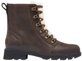 Sorel Lennox Shearling-Lined Leather Combat Boots