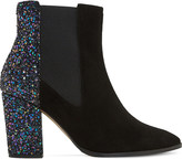 Dune Order glitter and suede chelsea boots
