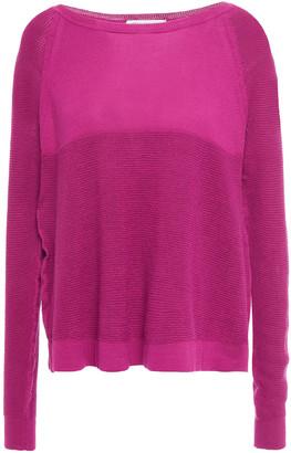 Cotton By Autumn Cashmere Waffle Knit-paneled Cotton Sweater