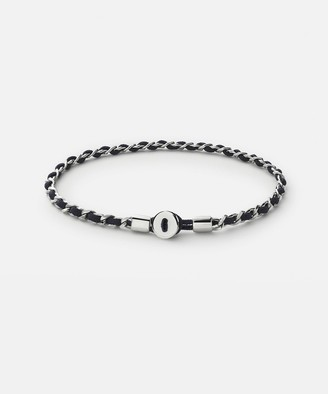 Miansai Nexus Link Bracelet in Polished Sterling Silver and Navy