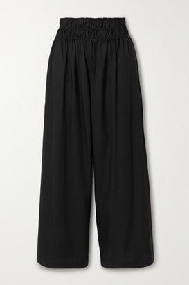 Rosetta Getty Gathered Cotton-poplin Wide-leg Pants - Black