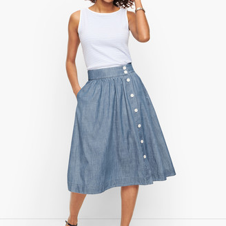 Talbots Denim Button Front Midi Skirt