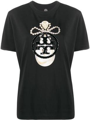 Tory Burch sequin-jewel logo T-shirt