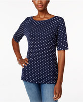 Karen Scott Petite Dot-Print Top, Only at Macy's