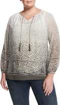 Vince Camuto Ombre Mosaic-Print Tie-Neck Blouse, Olive Earth, Plus Size