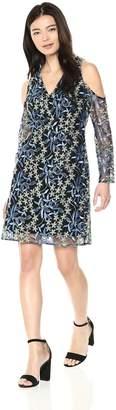 Sam Edelman Women's Cold Shoulder Embroidered mesh Dress