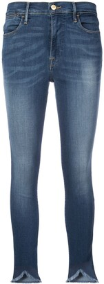 Frame Distressed Mid Rise Skinny Fit Jeans