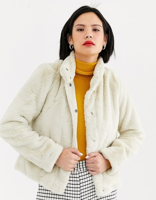 Only faux fur jacket in cream-Black