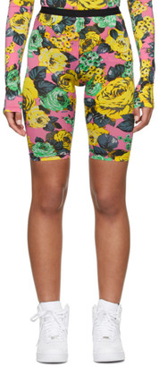 MSGM Pink Rose Print Bike Shorts