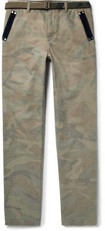 Sacai Slim-Fit Velvet-Trimmed Camouflage-Print Brushed-Cotton Trousers