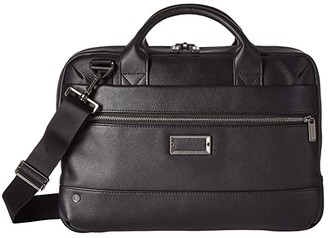 Briggs & Riley @Work Leather Slim Brief (Black) Briefcase Bags