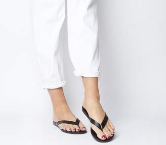 Office Sarong Flip Flops Black Leather Black Sole