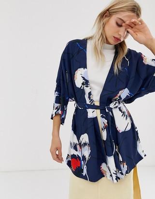 Just Female Anna floral print wrap blouse-Blue