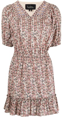 Nicole Miller Partridge stripe embroidered mini dress