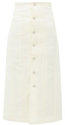 Edward Crutchley Swarovski Crystal-encrusted Wool Midi Skirt - Ivory