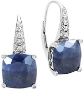 John Hardy Sterling Silver Classic Chain Magic Cut Sapphire Drop Earrings with Diamonds