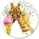 "Design Art Usa Giraffe Eating Ice Cream Watercolor, Animal Art Round Wall Art, 23"""