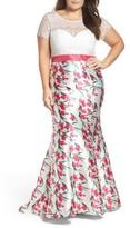 Mac Duggal Plus Size Women's Lace & Floral Mermaid Gown