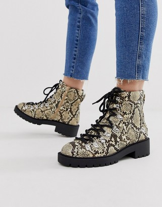 New Look lace detail chunky flat hiker boots in animal print