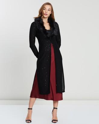 Montique - Women's Black Cardigans - Montmare Faux Fur Trim Knit - Size One Size, S at The Iconic