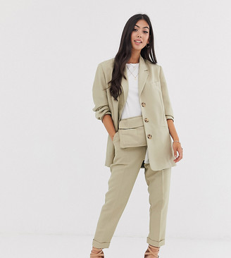 ASOS DESIGN petite tapered suit trousers with bum bag