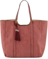 Neiman Marcus Braided Tassel Faux-Leather Tote Bag, Rose