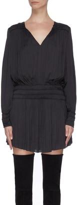 Frame V-neck balloon sleeve plisse pleated dress