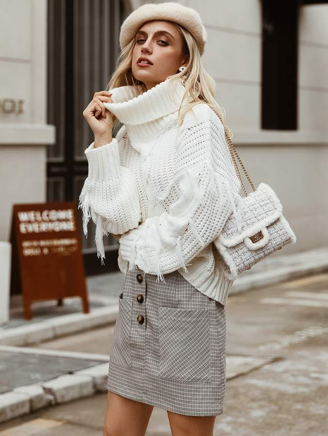 Shein Simplee Solid Turtle Neck Fringe Trim Sweater