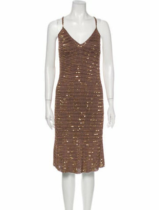 Miguelina V-Neck Midi Length Dress w/ Tags Brown
