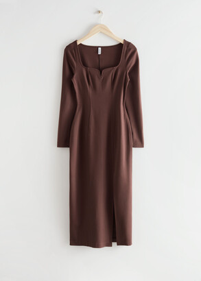 And other stories Fitted Sweetheart Neck Midi Dress