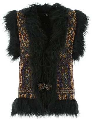 Etro Embroidered Faux Fur Vest